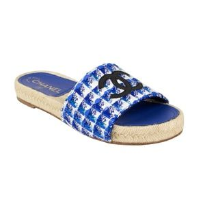 CHANEL Blue Tweed And Grosgrain Espadrille Mules